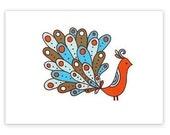 Orange -limited edition screen print -Exotic Bird Series 5x7