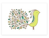 Tree Tail -limited edition screen print -Exotic Bird Series 5x7