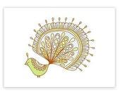 Lemon -limited edition gocco screen print -Exotic Bird Series 5x7