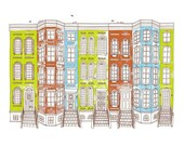 Row Houses -Limited edition screen print, 8x10