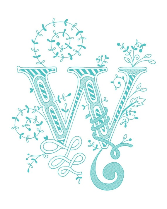 Items Similar To Hand Drawn Monogrammed Print 8x10 The Letter W In
