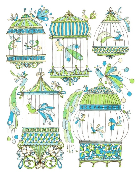 Bird Cages -Limited Edition Screen Print -16x20