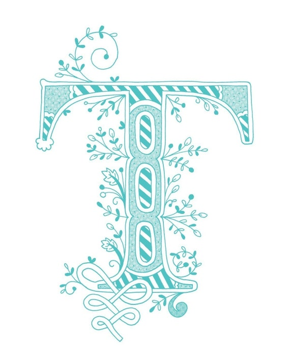 Items Similar To Hand Drawn Monogrammed Print 8x10 The Letter T In