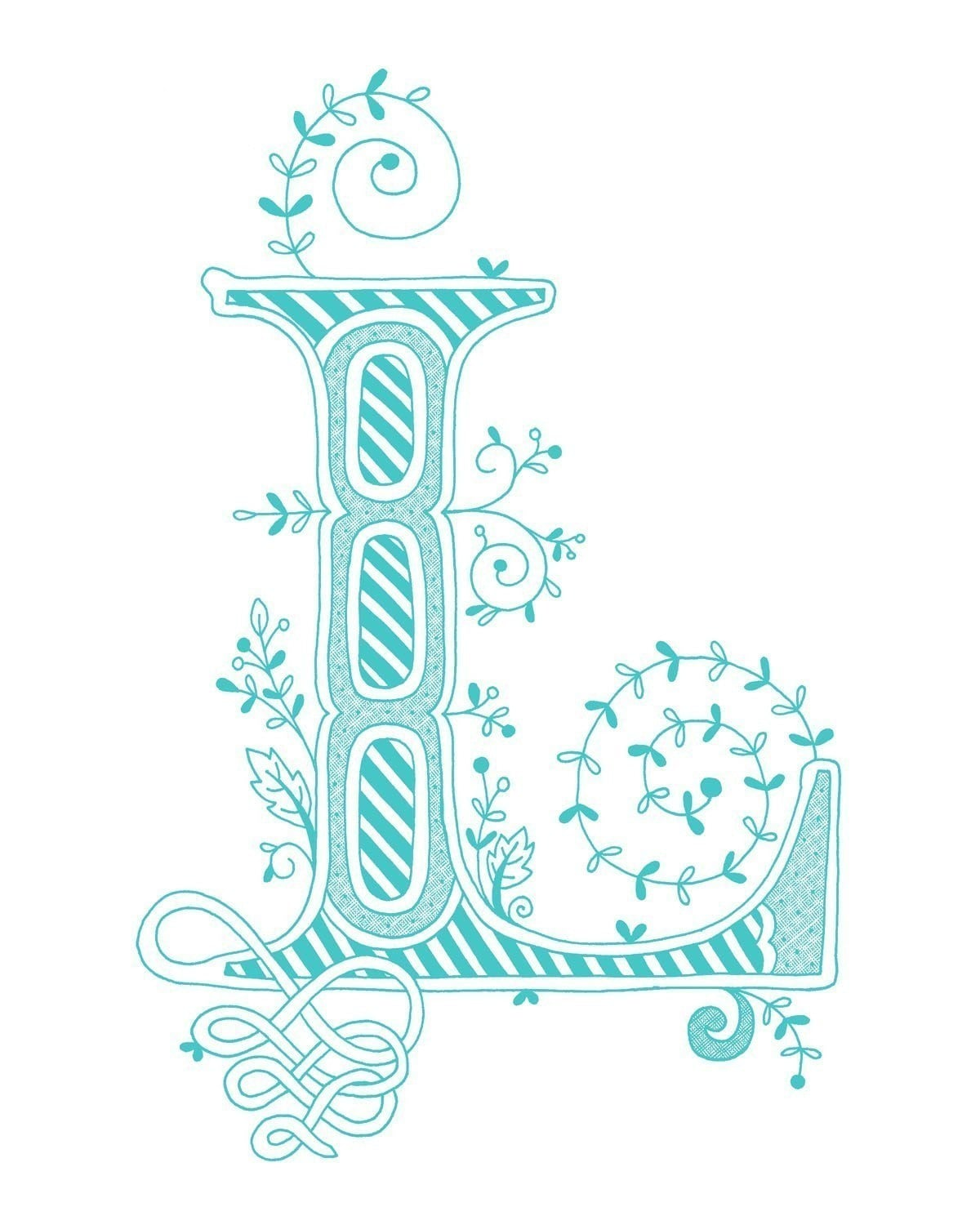 Hand Drawn Monogrammed Print 8x10 The Letter L In By