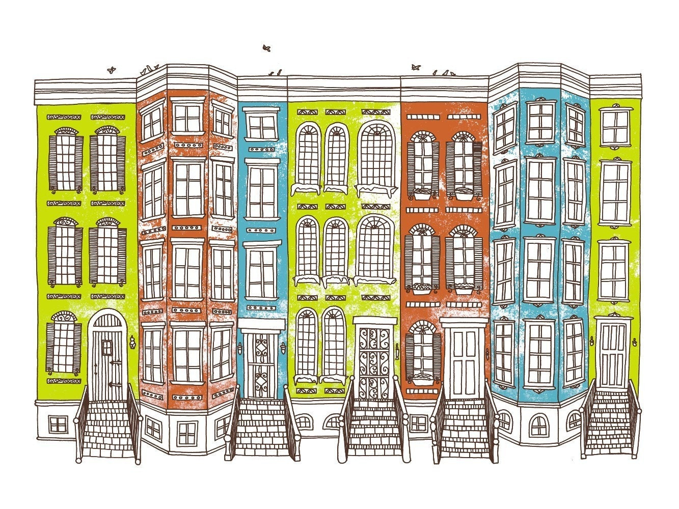 Row Houses Limited Edition Screen Print 8x10