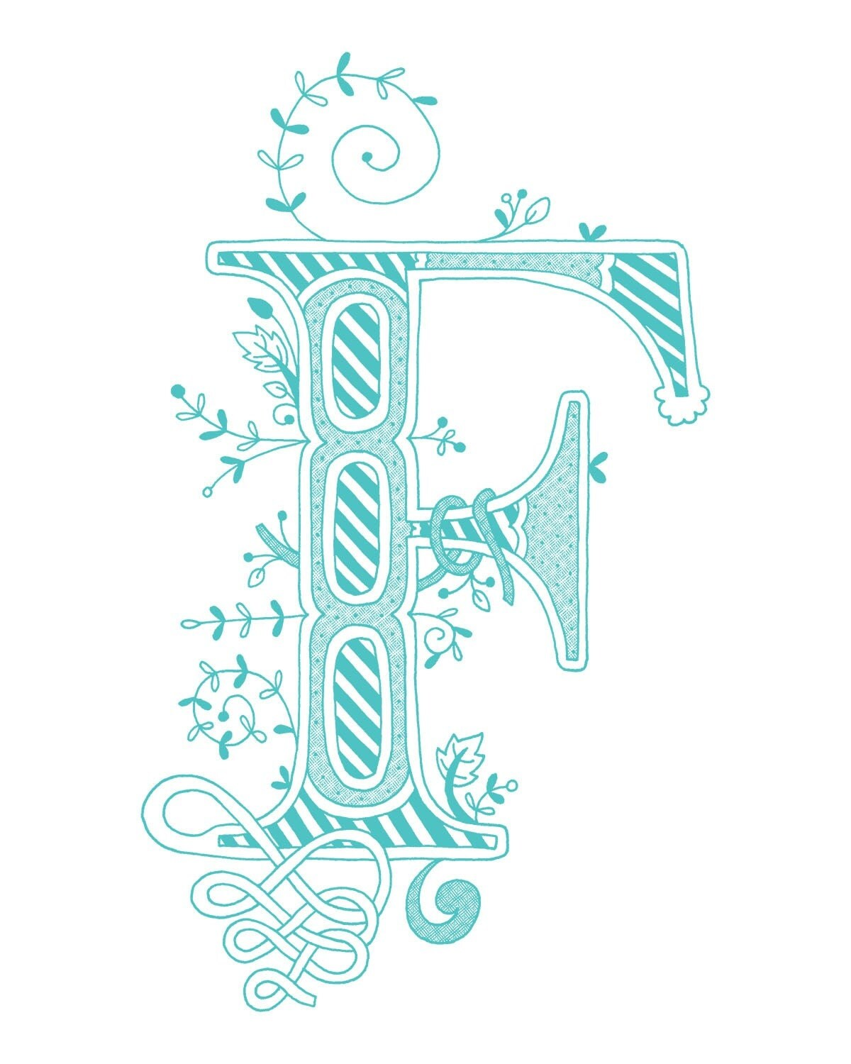 Hand drawn monogrammed print 8x10 the Letter F in by ...
