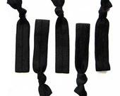 Basic Black Hair Elastic Ponytail Holders - Set of FIVE - Hair Candy by Gazzu