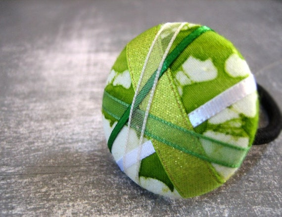SUMMER SALE - Details in Shop - Green Marble - One Over-Sized Ponytail Holder - Hot Hair Candy