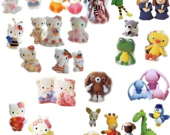 Entire Crochet pattern Hello Kitty animal collection for sale