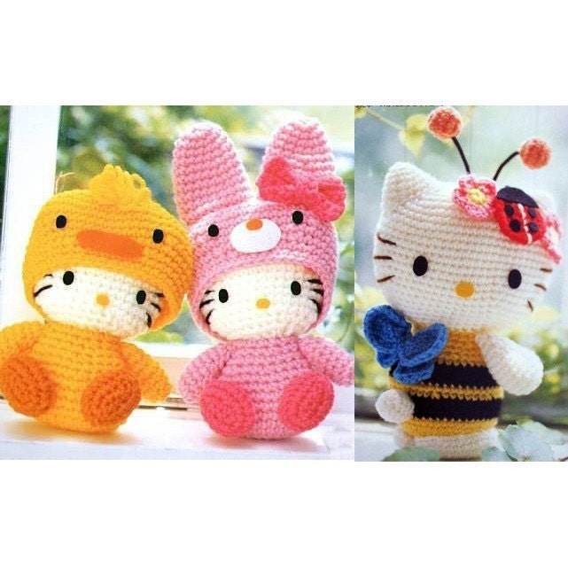 Cute Kawaii Amigurumi Patterns : Set of 2 Pattern for Japanese Amigurumi Kitty Dolls IN ENGLISH