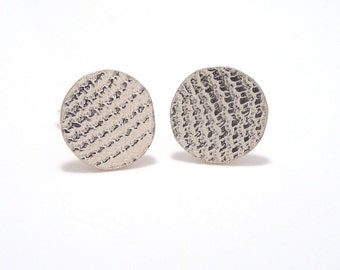 sterling silver lace imprint round post earrings