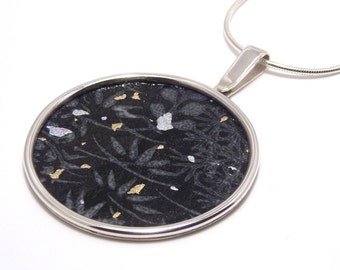 sterling silver pendant with black pattern washi paper