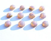 12 6mm Round Pink Fire Faux Opal Harlequin Art Glass Cabochons