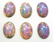 6 18x13mm Oval Pink Fire Harlequin Art Glass Cabochons