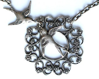 Kissing Birds in My Garden Charm Filigree Hoop Necklace in Antique Silver Girly Retro Vintage Look Free Shipping Promotion