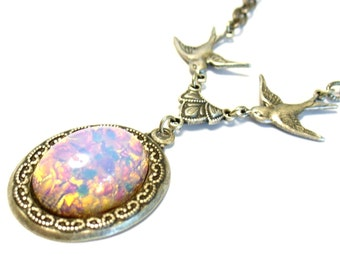 Pink Fire Faux Opal Art Glass Little Bird Necklace in Antiqued Silver plated Brass Free Shipping Promotion