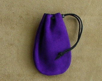 Leather Drawstring Pouch, Drawstring Bag, Suede Pouch