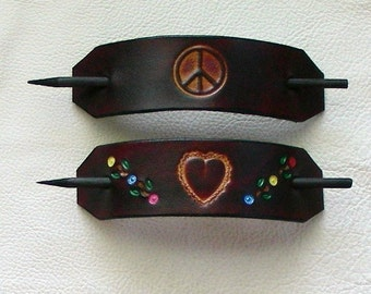 Hippie Style Leather Hair Barrettes, Peace and Love Barrettes, Retro Leather Barrettes