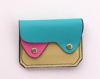 Leather Wallet, Coin Purse, Card Case,  Pastel Leather Wallet, Small Leather Wallet, Minimalist Wallet