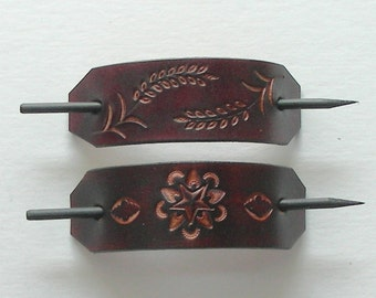 Tooled Leather Hair Barrettes with Sticks, Retro Leather Barrettes, Hippie Leather Barrettes