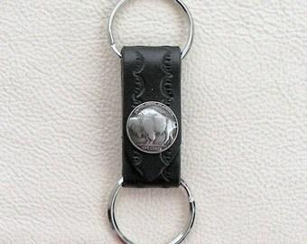 Leather Keyring, Black Leather Keyring, Antique Buffalo Nickel Coin