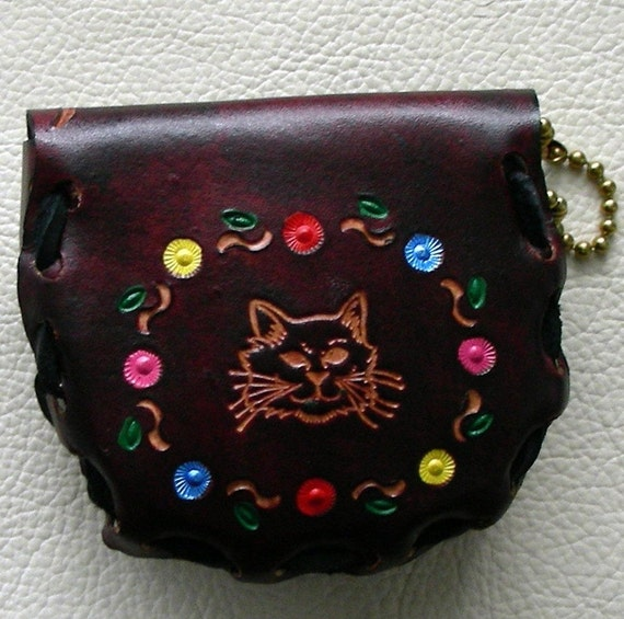 Retro Leather Coin Purse, Laced Leather Purse, Sturdy Leather Coin Purse