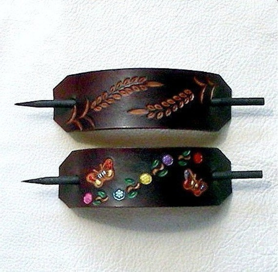 Retro Style Leather Hair Barrettes with Sticks