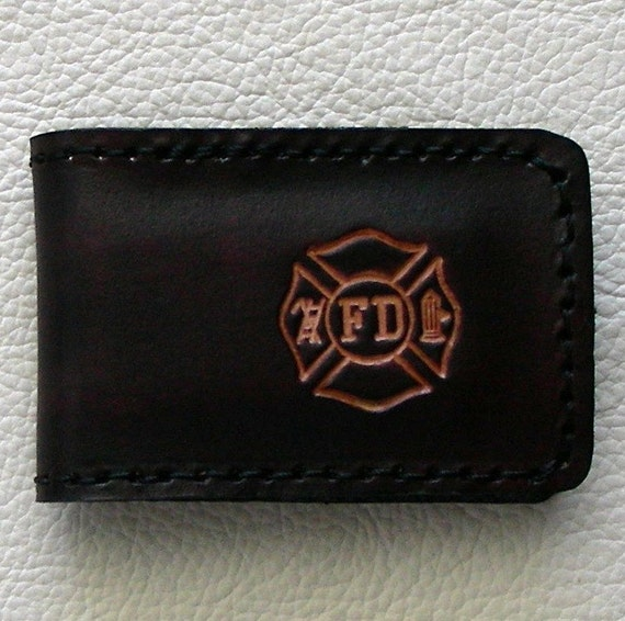 Leather Magnetic Money Clip with Fire Department Insignia