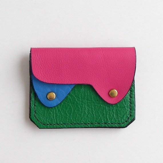 Small Leather  Wallet, Coin Purse, Card Case, Bright Colors Leather Wallet