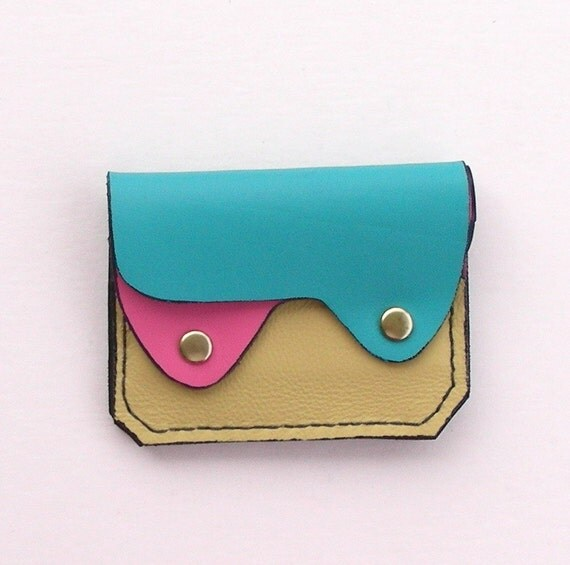 Leather Wallet, Coin Purse, Card Case,  Pastel Leather Wallet, Small Leather Wallet
