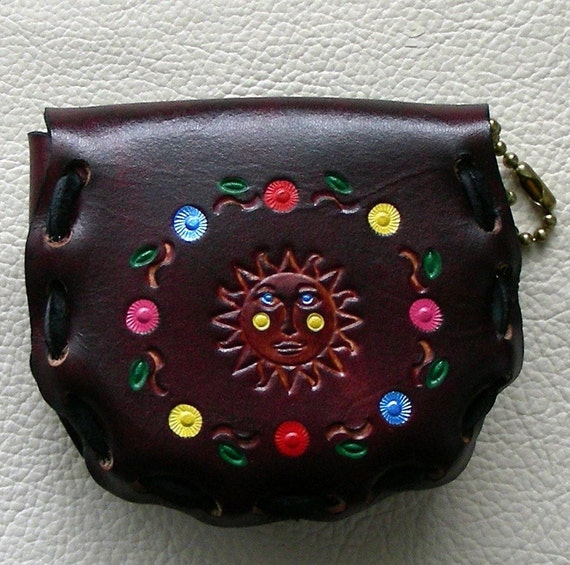 Leather Coin Purse, Retro Style Leather Coin Purse, Laced Leather Coin Purse