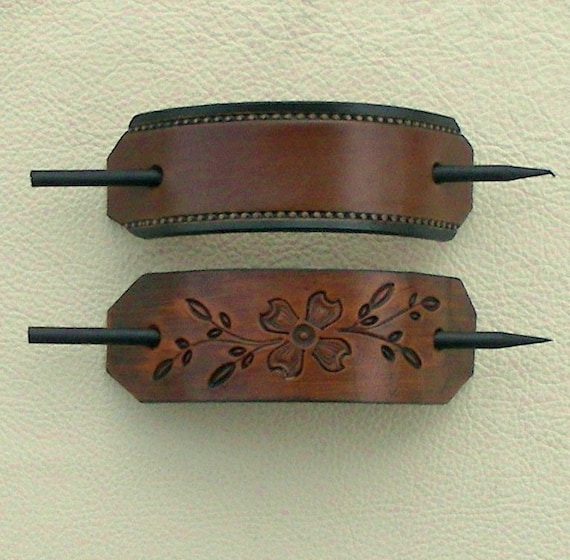 Retro Leather Hair Barrettes With Sticks
