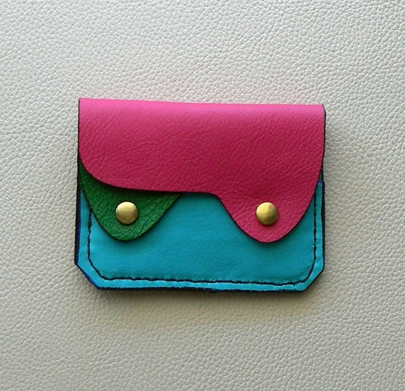 Small Leather Wallet, Coin Purse, Card Case, Bright Colors Leather Wallet, Compact Leather Wallet