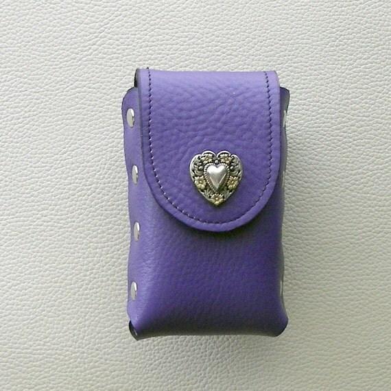 Purple Leather Cigarette Case with Heart  Concho