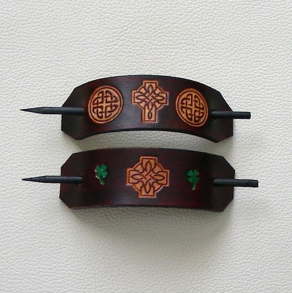 Retro Leather Hair Barrettes, Celtic Knot Leather Barrettes