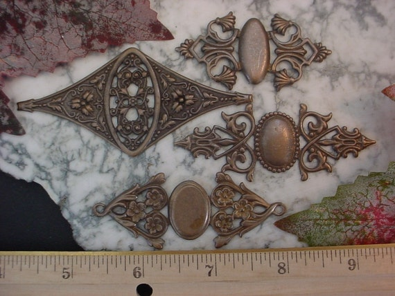 4pc Victorian Design Aged Genuine Brass Bracelet Choker Findings Some Goth With Stone Settings AB014