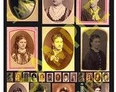 Digital Collage sheet Antique Portraits Women 1