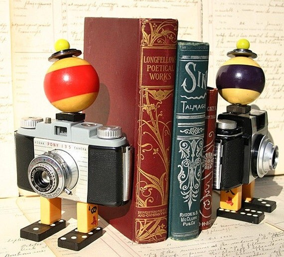 Pair of Original Recycled Found Objects Assemblages - Bookends