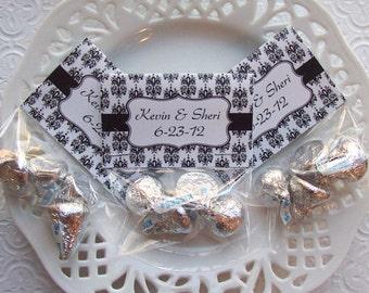 Printable Black and White Damask Wedding Favor Mini Bag Toppers
