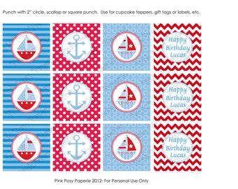 Printable Sailboats Birthday Cupcake Toppers
