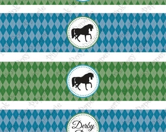 Printable Derby Day Water Bottle Wrappers - Instant Download