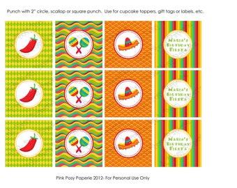 Printable Cinco de Mayo or Fiesta Birthday Cupcake Toppers