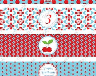 Printable Cherries Birthday Water Bottle Wrappers