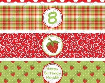 Printable Strawberries Birthday Water Bottle Wrappers