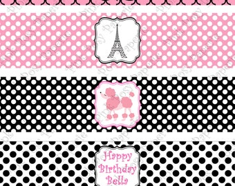 Printable Paris Poodle Birthday Water Bottle Wrappers