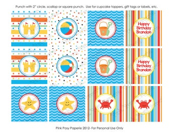 Printable Beach Birthday Cupcake Toppers