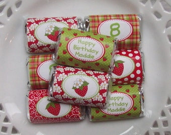 Printable Personalized Strawberry Birthday Mini Candy Bar Wrappers