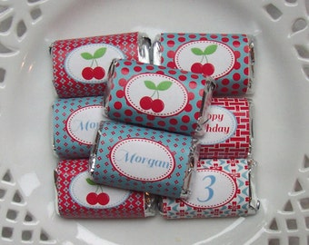 Printable Personalized Cherries Birthday Mini Candy Bar Wrappers
