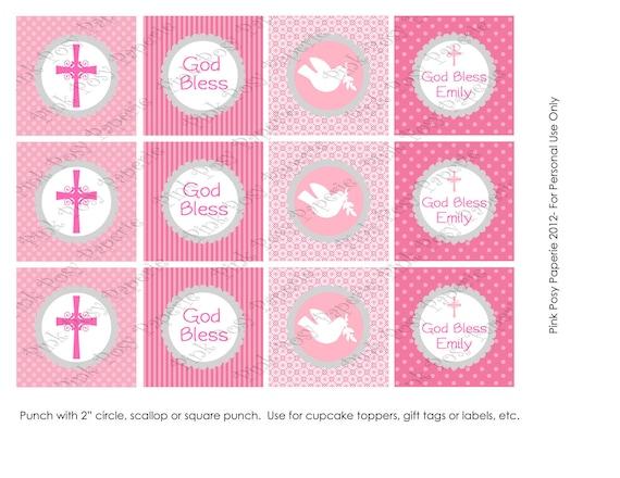 Printable girl baptism pink and gray cupcake toppers negle Choice Image