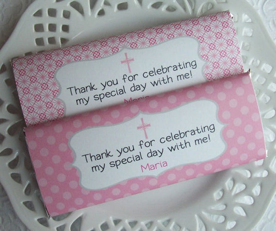 Printable Personalized Pink and Gray First Communion or Baptism Girl Large Candy Bar Wrappers